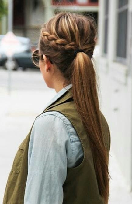 double sided braided long hair ponytail