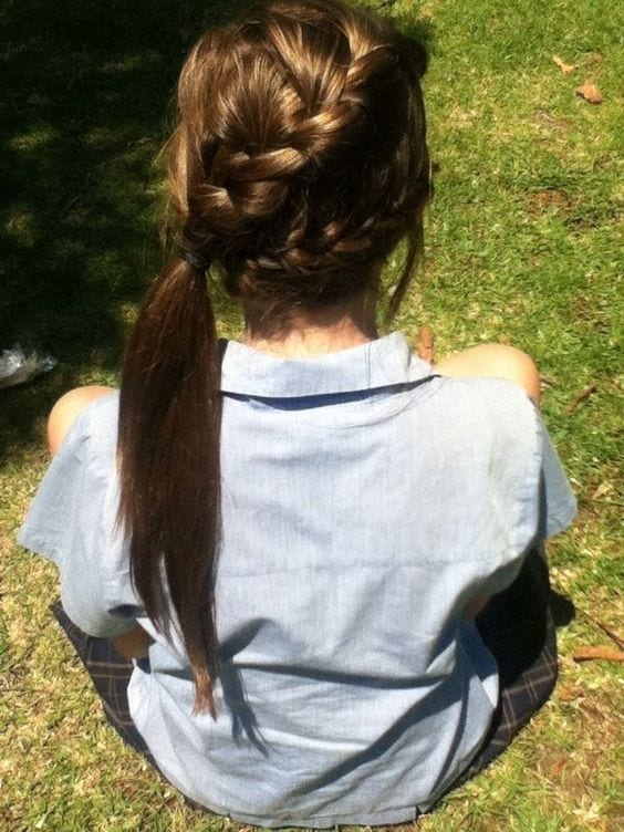 double sided side swept ponytail
