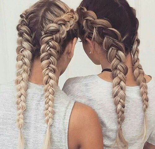dutch braid pigtails grey hair