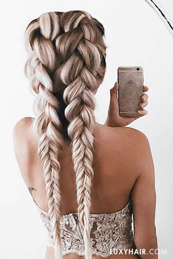 dutch braid pigtails long grey hair