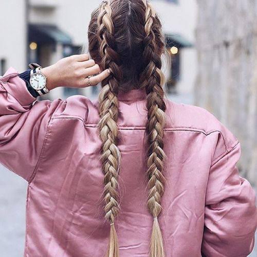 dutch pigtails long hair