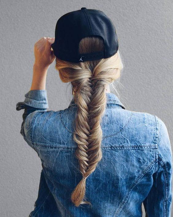 fishtail braid long hair with a cap