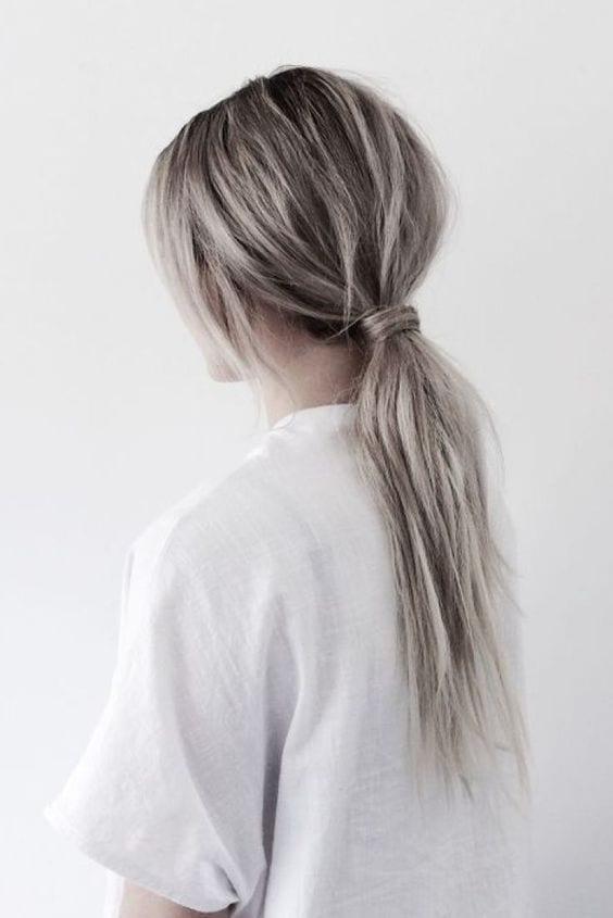 grey ponytail