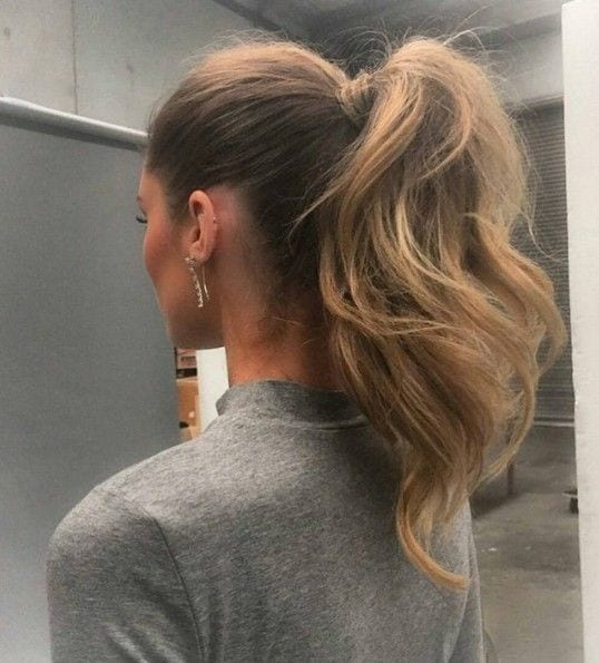 high ponytail thick hair