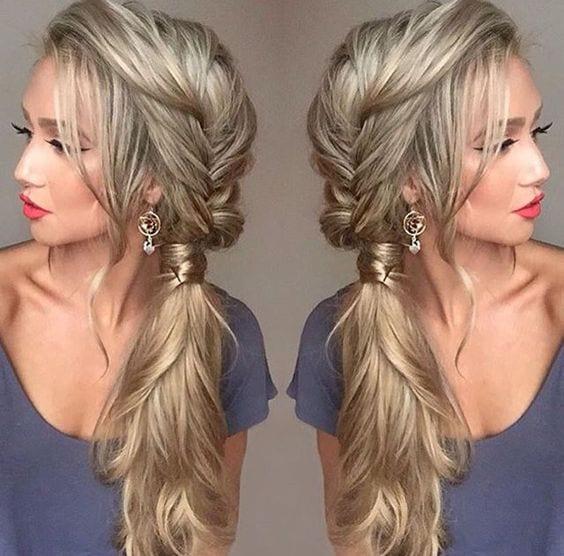 pretty side swept ponytail
