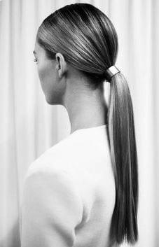 sleek and low ponytail long hair