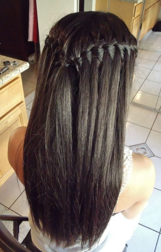 striaght black waterfall braid