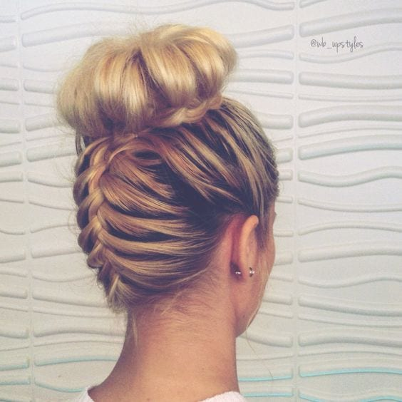upside braided top knot