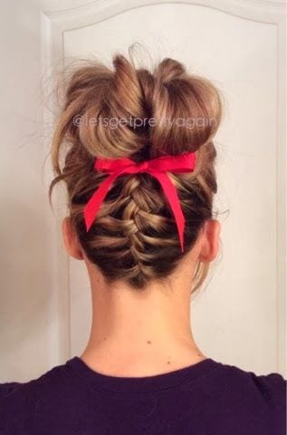 upside braided with ribbion