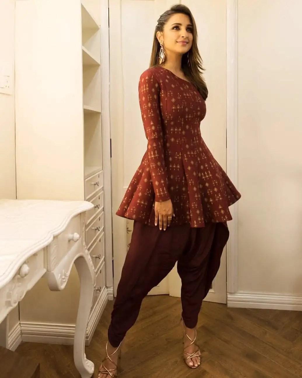 2018 dhoti pants with peplum tops parineeti chopra
