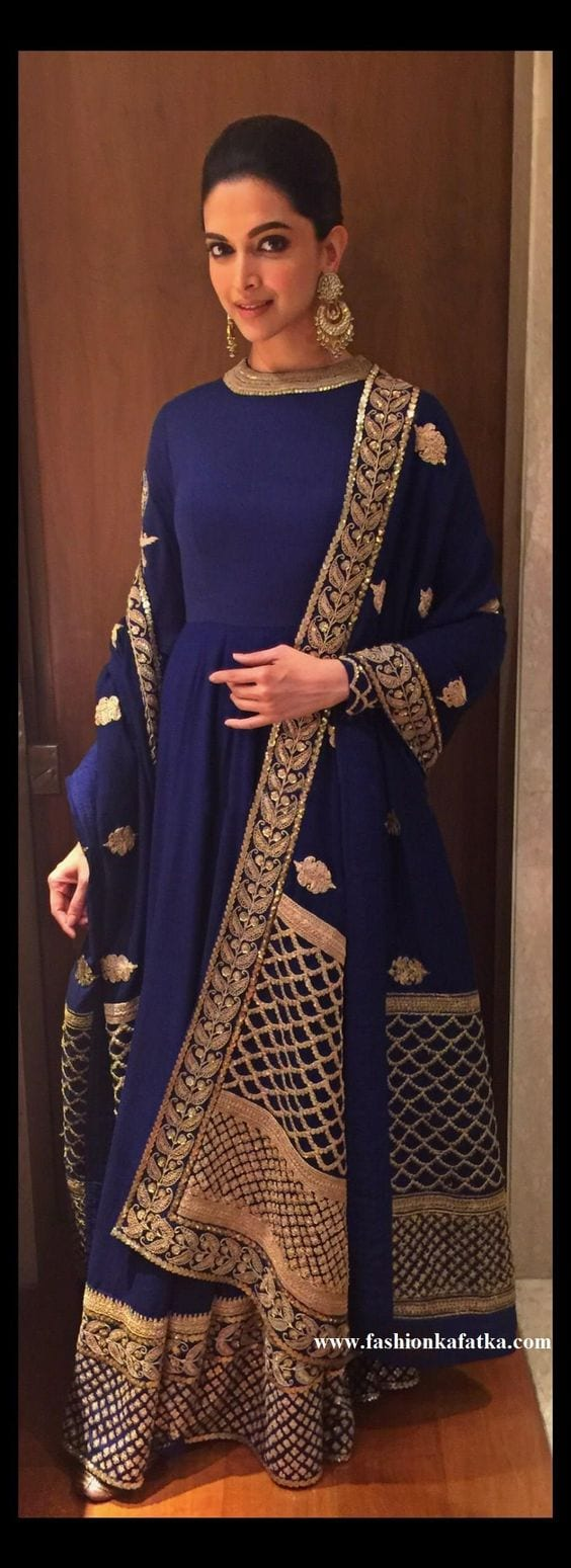 Deepika Blue Floor Length Anarkali Suit