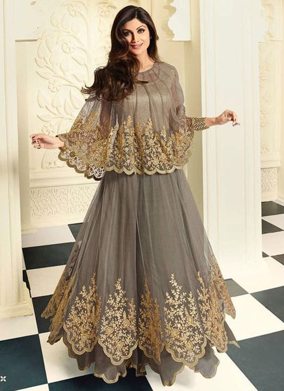 Shilpa shetty cape style anarkali