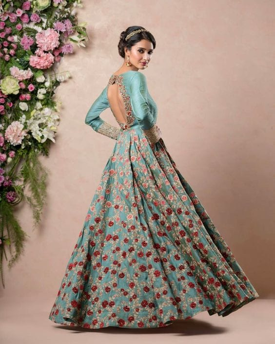 anarkali dress with stunning hairstyle looks in 2018