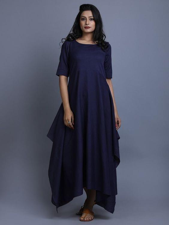blue flared kurti
