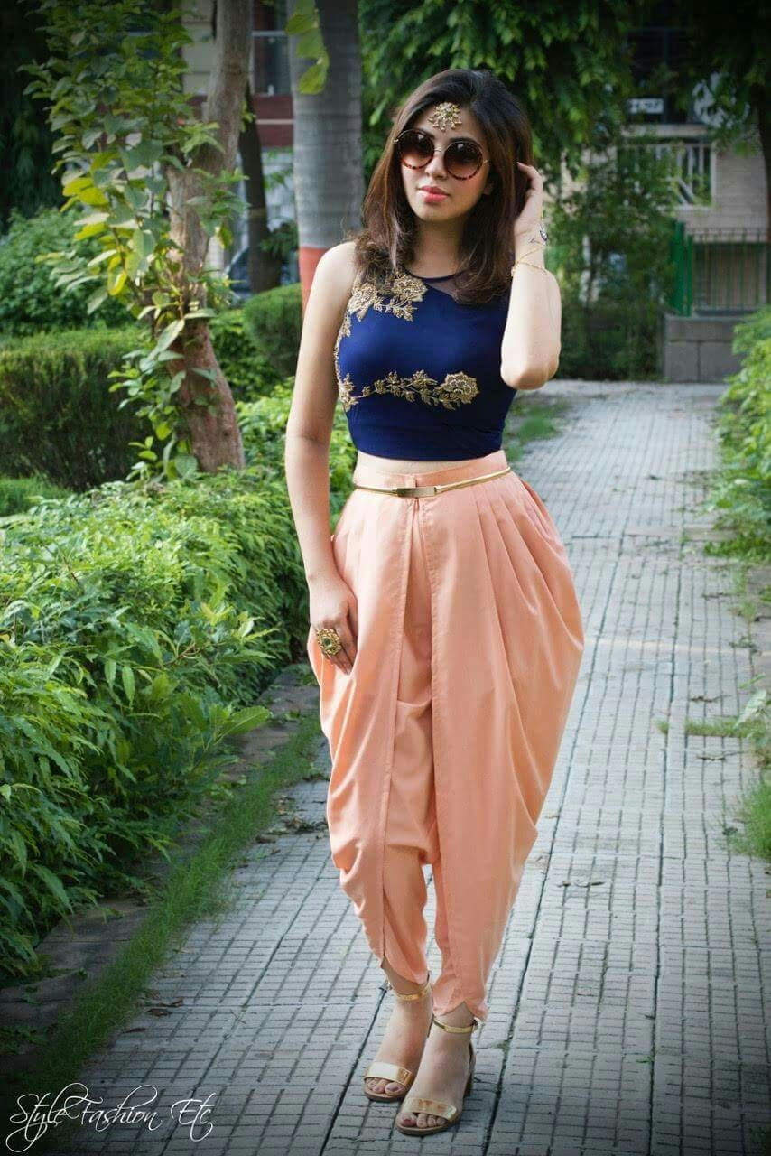 blue party wear dhoti pants with crop top