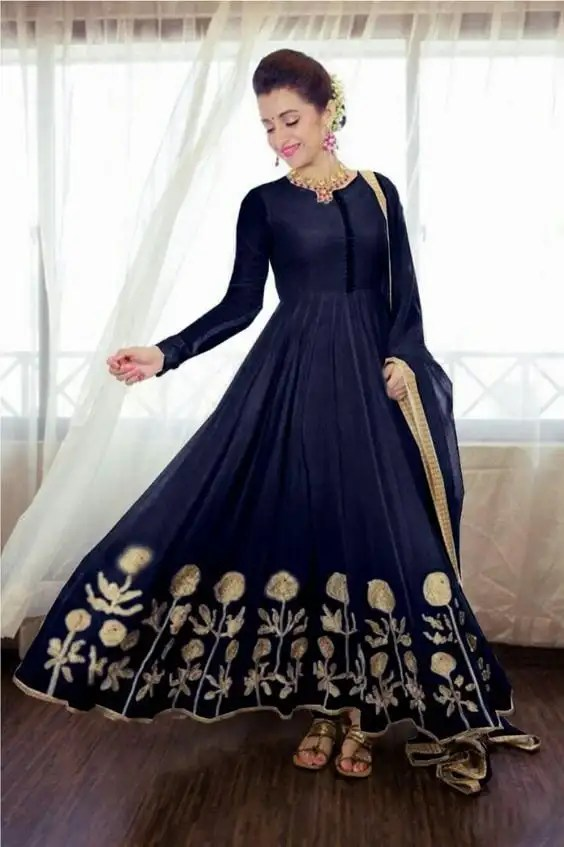 bluw with gold work anarkali dress for wedding