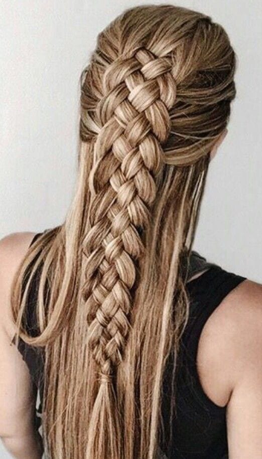 four strand braid long straight