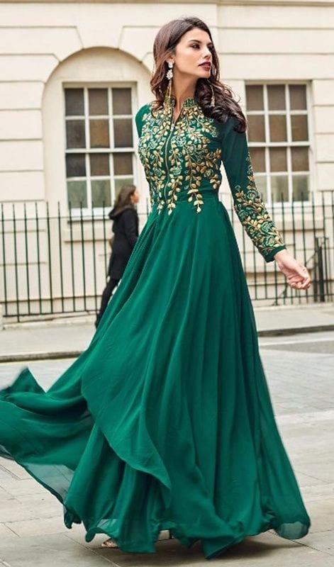 green anarkali dress