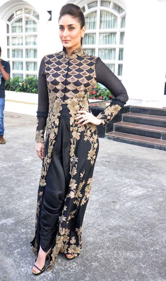 kareena kapoor black dhoti pants style outfit
