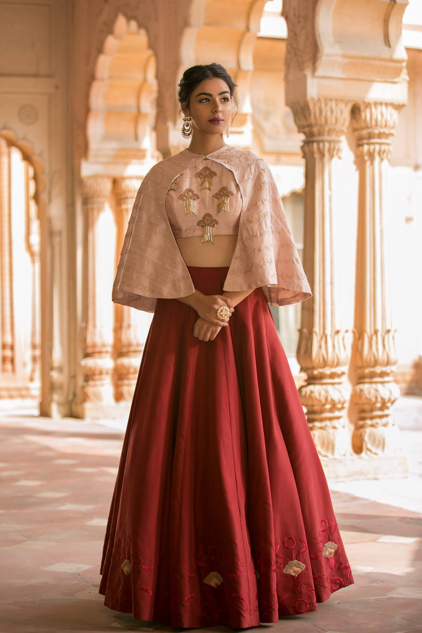 latest designer lehenga with capes