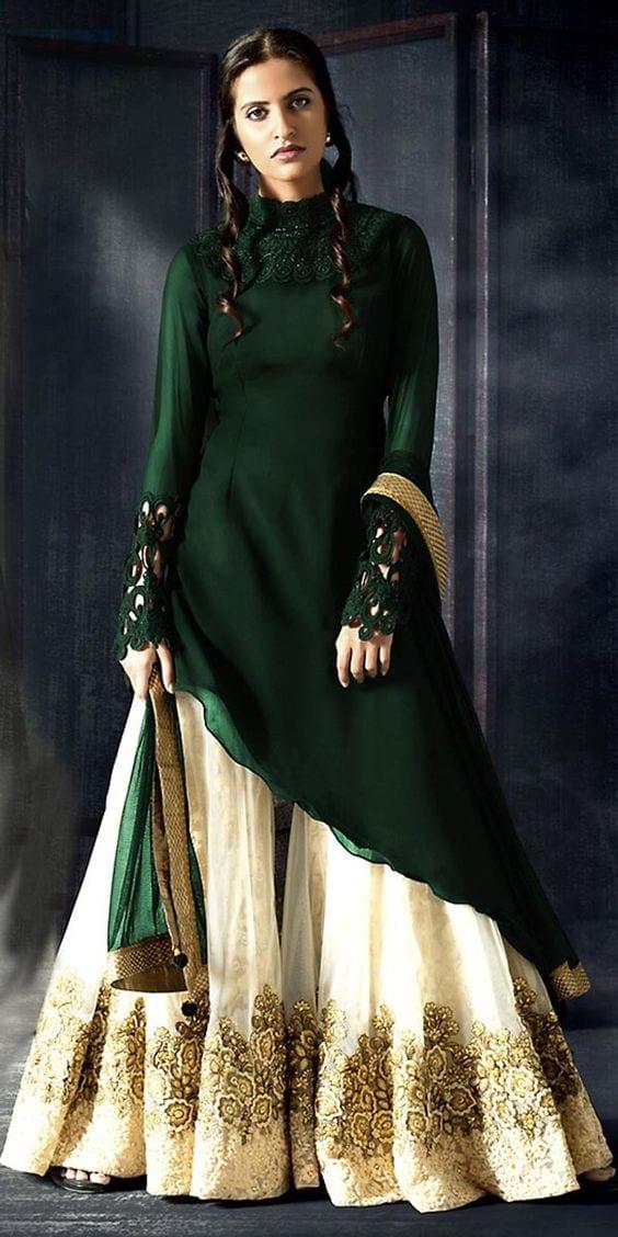 latest lehenga with long kurti sharara style
