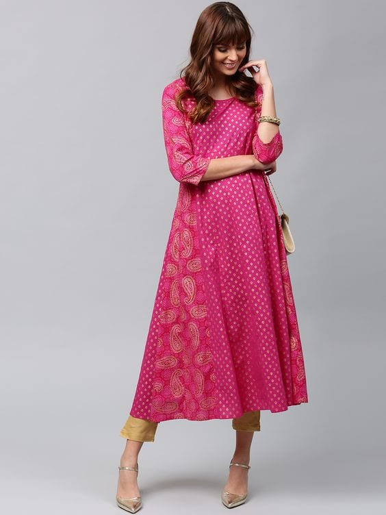 pink and gold printed anarkali kurti