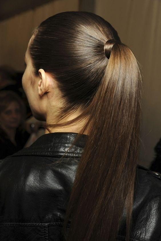 polished long ponytail