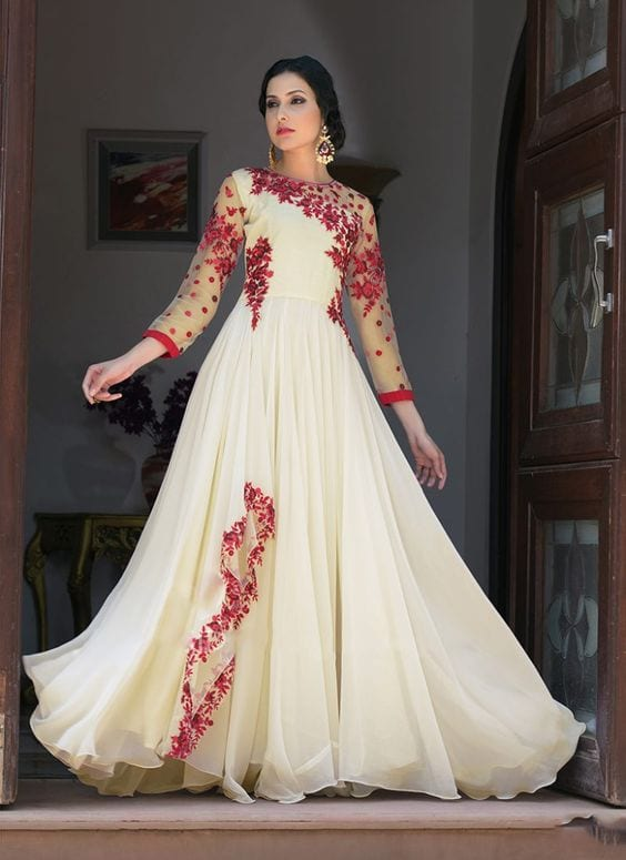 red and white floral anarkali gown designs