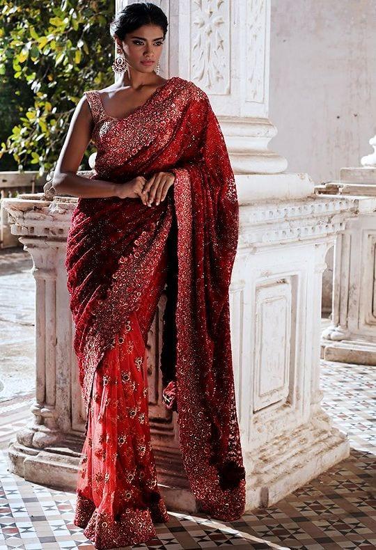 red party wear designer saree
