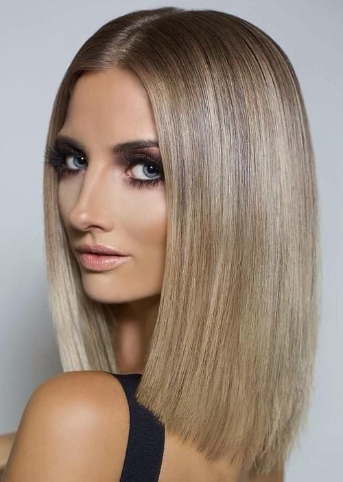 straight hair with center part
