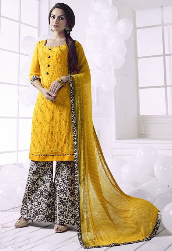 yellow palazzo suit for women