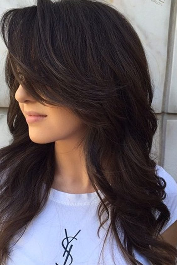 black layered hair