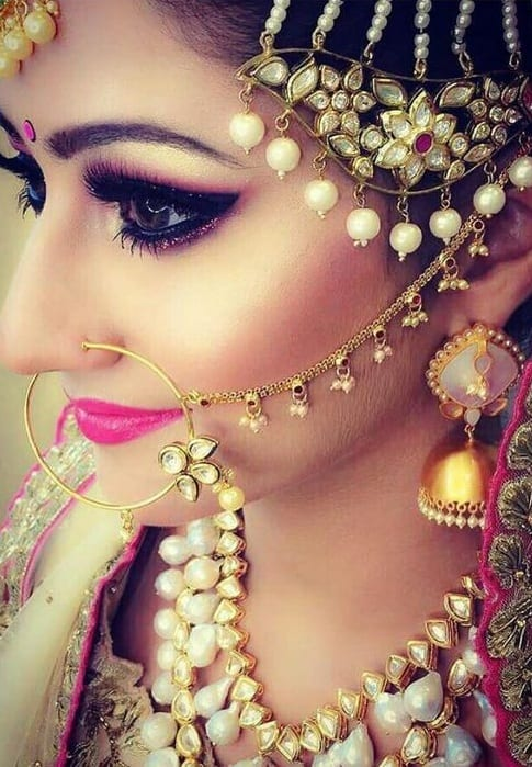 gold annd white earring