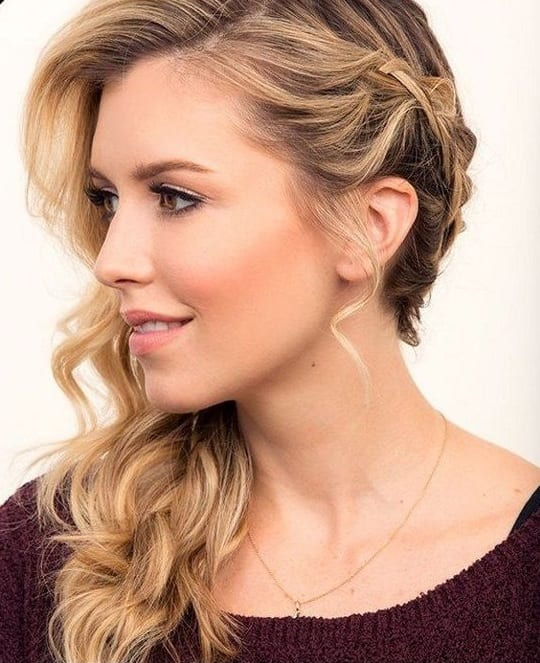 side swept braided