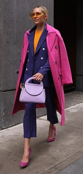Blue-Suit-Pink-Overcoat-Women's Suit-Outfit