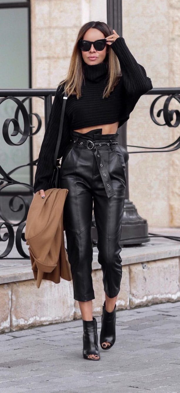 Cropped-Black-Leather-Trousers-Black-Full-Sleeves-Top-and-Black-Open-Boots-Outfit