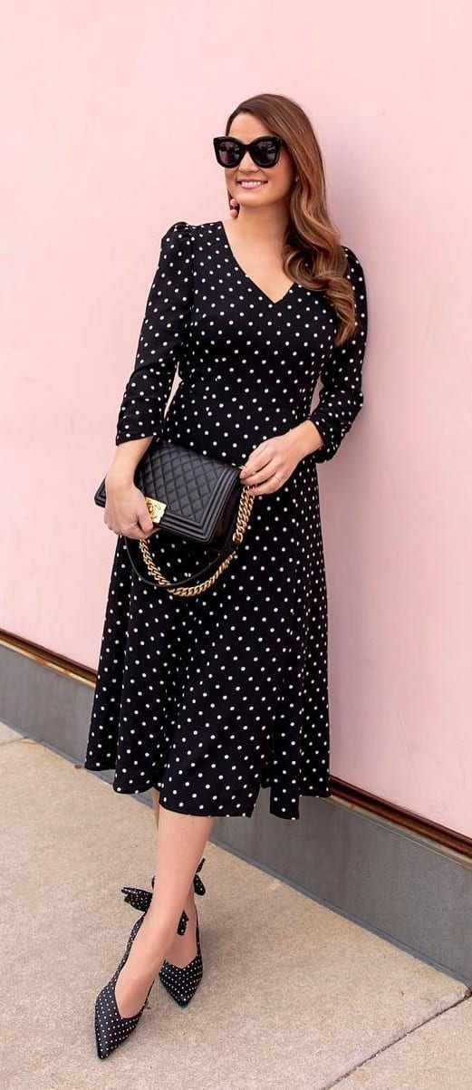 Cute-Black-Polka-Dots-Dress-for-a-Dayout