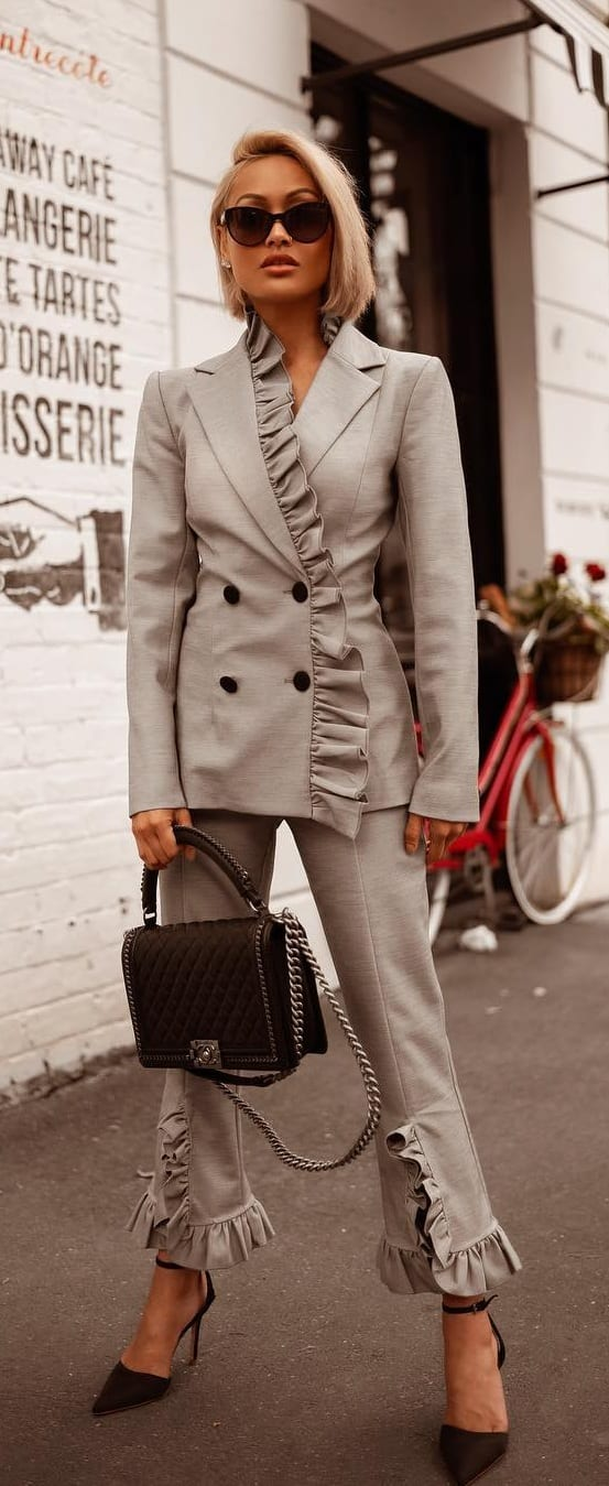 Grey-Ruffle-Suit-Ideas-for-Women