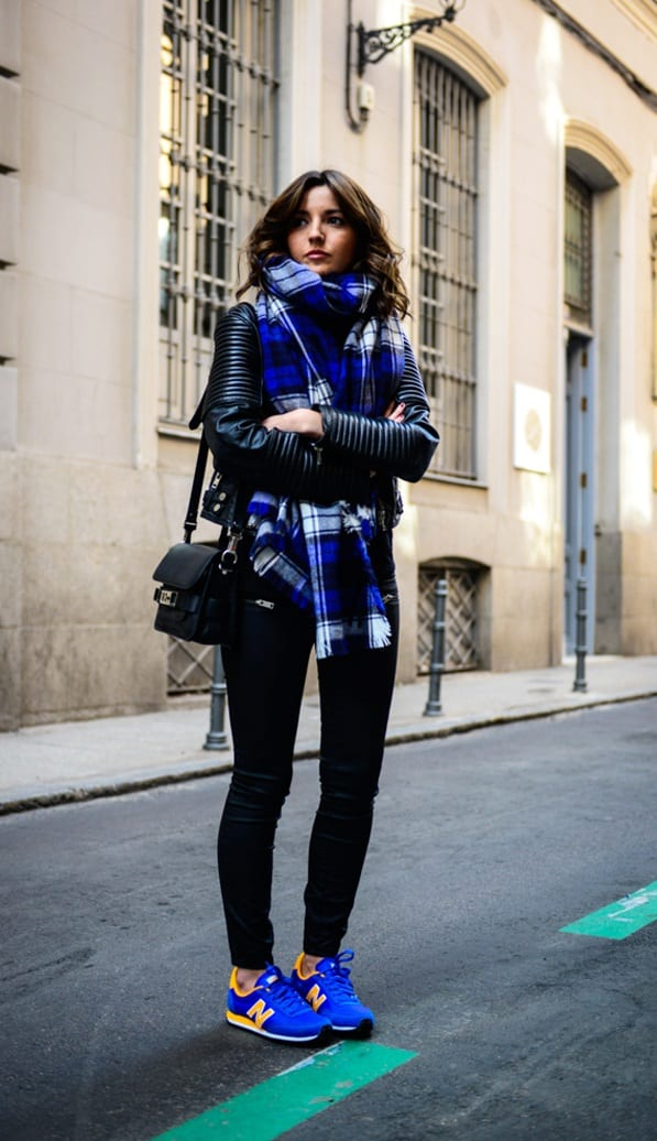 Cobalt-Blue-Sneakers-Black-Leggings-Black-Jacket-Scarf-Outfit
