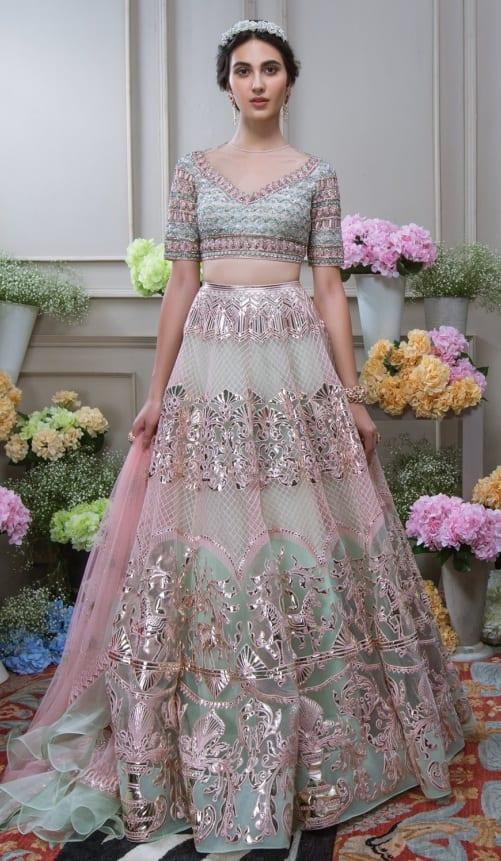 Designer Blue and Pink Lehenga