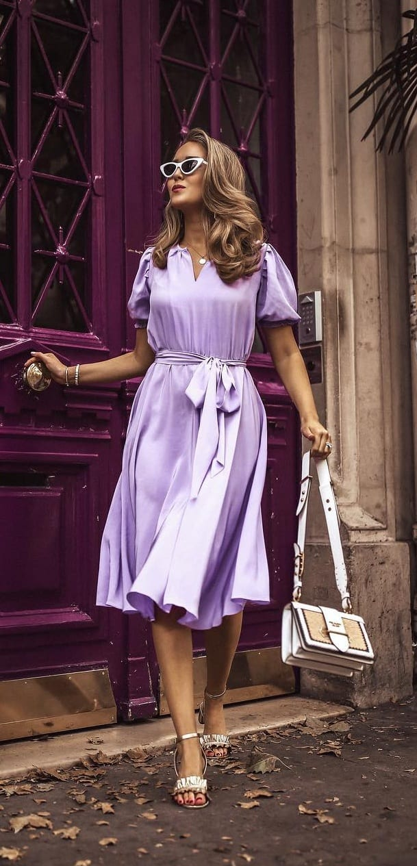 Lavender Silk Dress Outfit