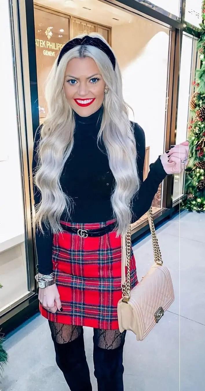 Plaid Skirt Christmas Outfit Ideas