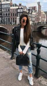 White-Sneakers-Black-Leather-Jacket-Blue-Ripped-Denim-White-Wollen-T-shirt