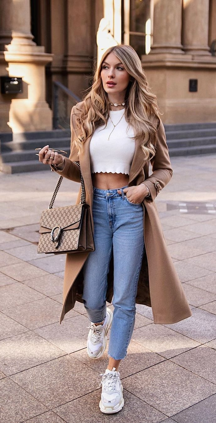 White-Sneakers-Crop-Top-Blue-Jeans-and-Overcoat-Outfit-for-Women