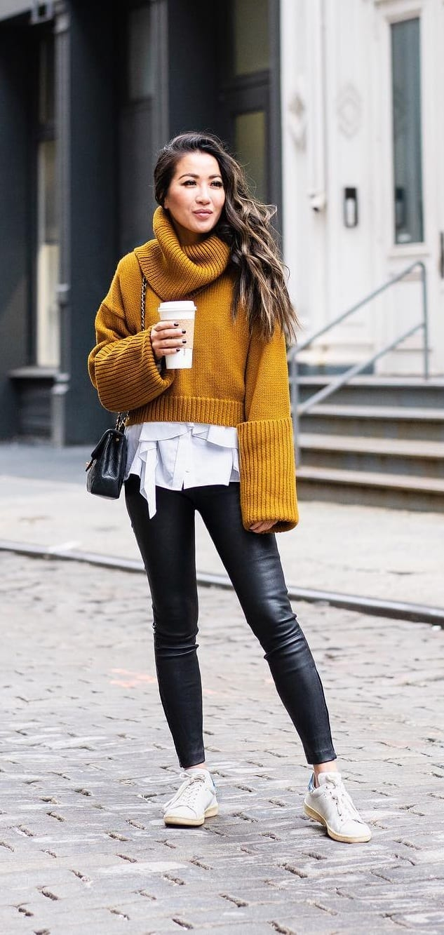 White-Sneakers-Mustard-Yellow-Sweater-White-Undershirt-and-Blue-Jeans