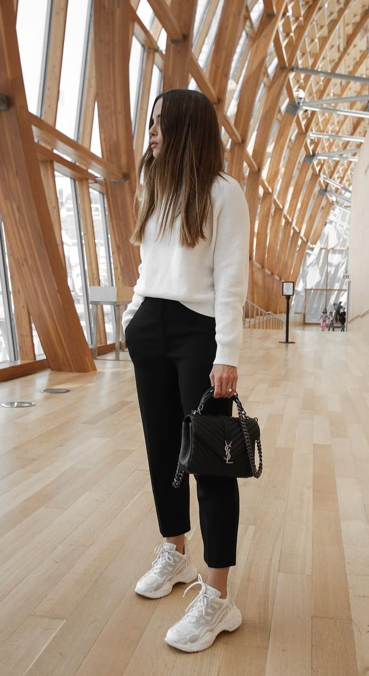 White-Sneakers-White-Sweatshirt-Black-Leather-Pant-Outfit