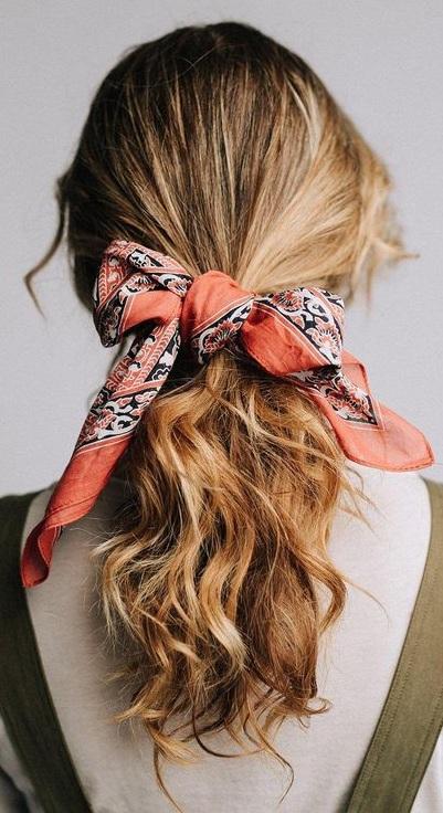 Cute Hairstyle For Medium Hair With Bandana