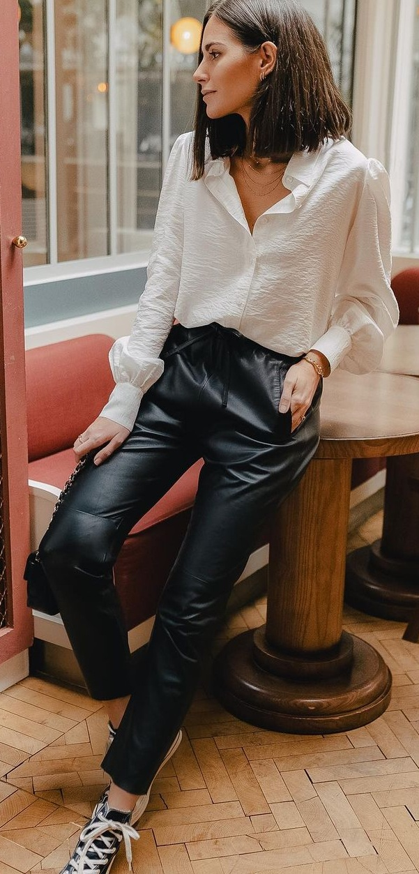Simply Elegant White Shirt Styled With Leather Pants Look for Women