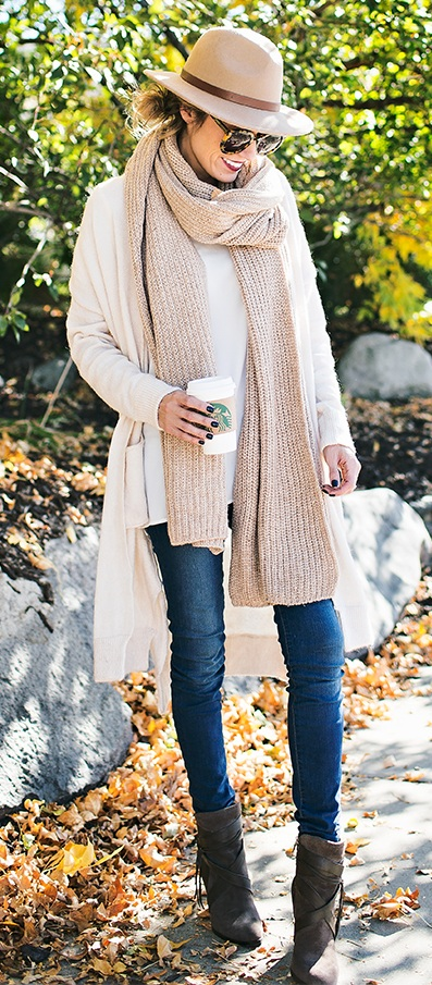 Fall Neutrals Outfit Styled with a stylish knit scarf
