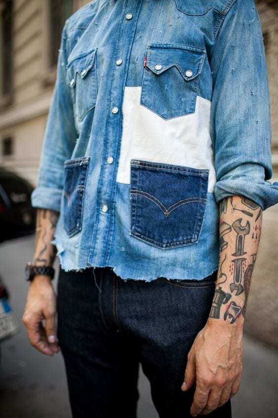 vintage denim shirt with pockets